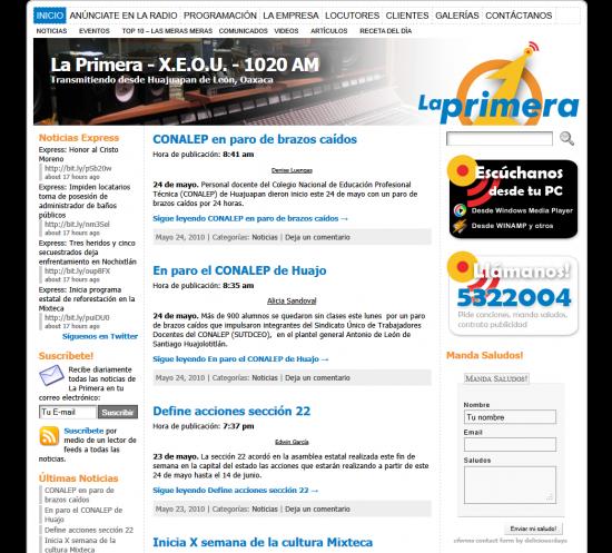 Página web Radiodifusora La Primera versión vieja